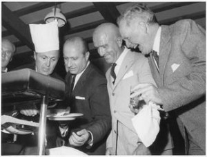 Louis Chiron, playful as usual in a chefs hat with fellow Club founders, Juan Manuel Fangio, Nino Farina and Tuolo de Graffenried