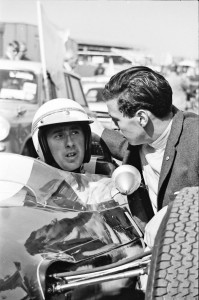 July 1964, Jackie Stewart gets some last minute advice from Jim Clark before setting off for his first ever drive in a Formula 1 car   a Lotus 25 so Duns was a 51 year reminder of how his grand prix career started