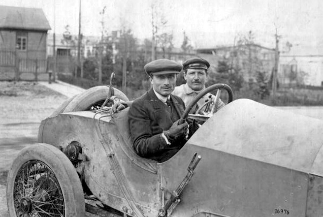 Photographed 102 years ago! Theodore Pilette at the wheel of his 1913 Mercedes. (Pilette archive)