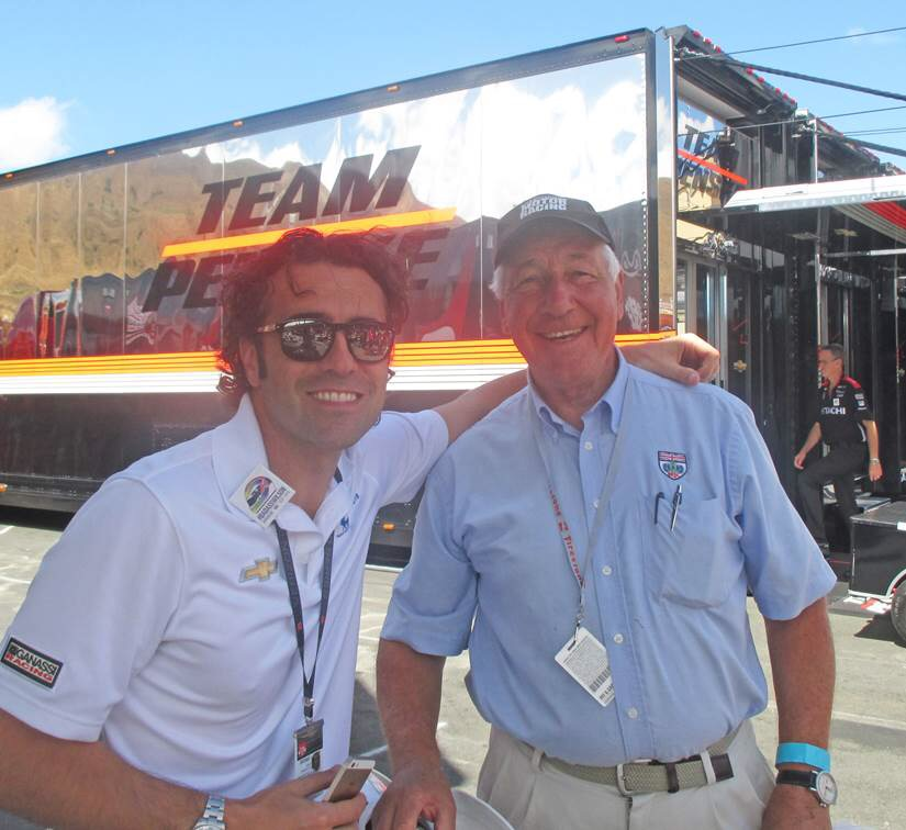 Meeting up with Club honorary member Dario Franchitti at Roger Penske's impressive transporter in the Laguna Seca paddock.