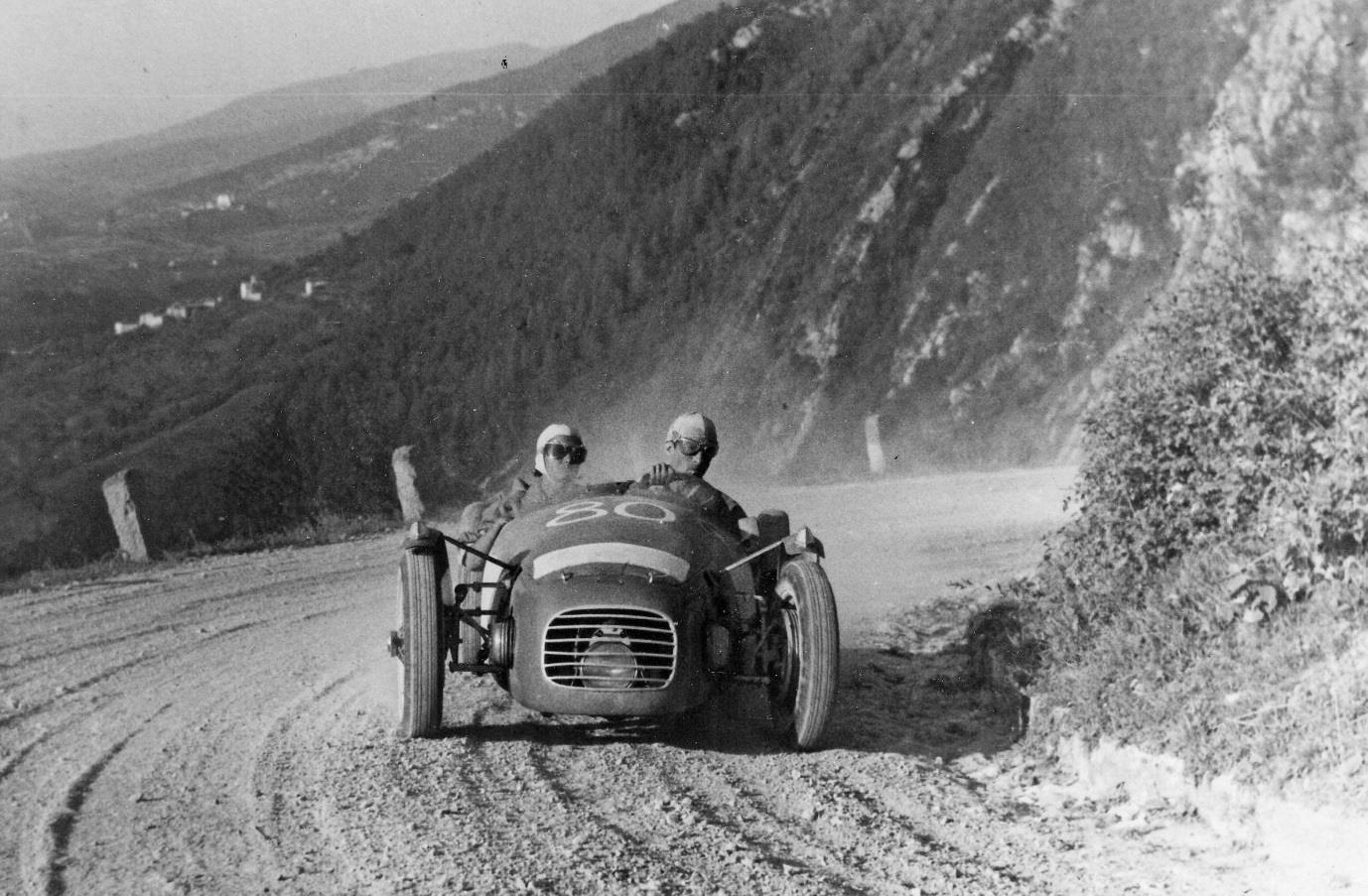 Driving the Urania-BMW  – powered by a BMW motor cycle engine – on the 1949 Stella Alpina event