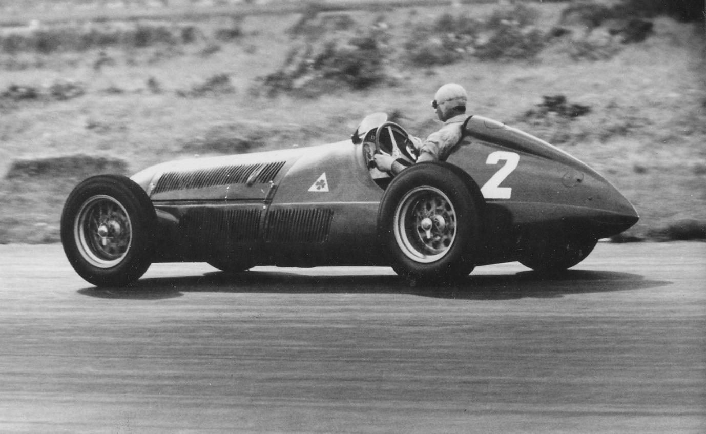Fangio at the wheel of the Alfa Romeo 158 Alfetta