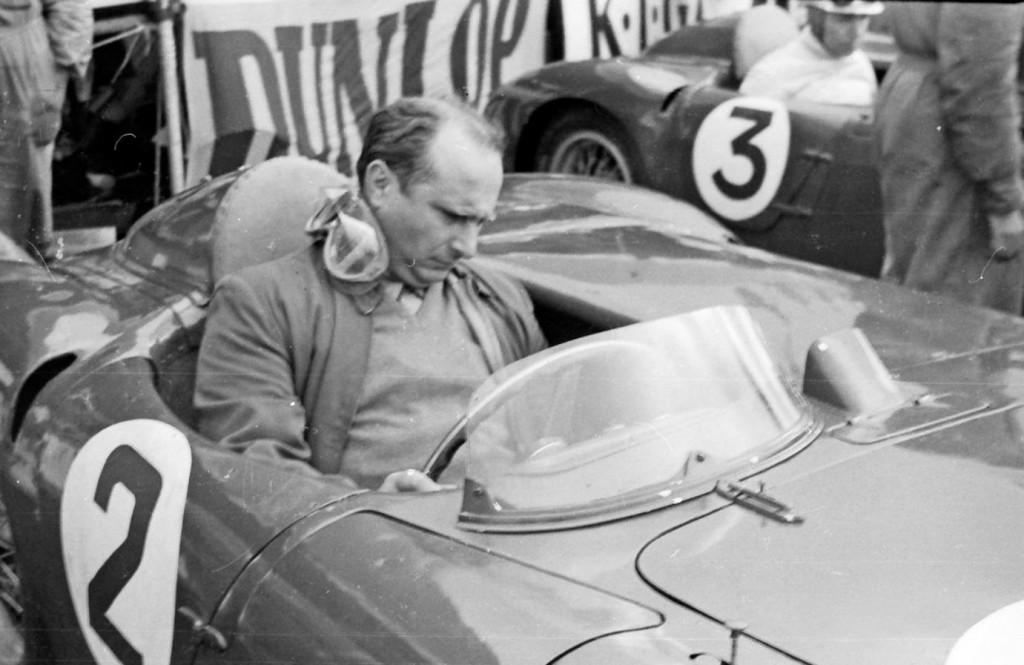 Fangio at the wheel of the Lancia D24 sports car at the Tourist Trophy Race of 1954 at Dundrod