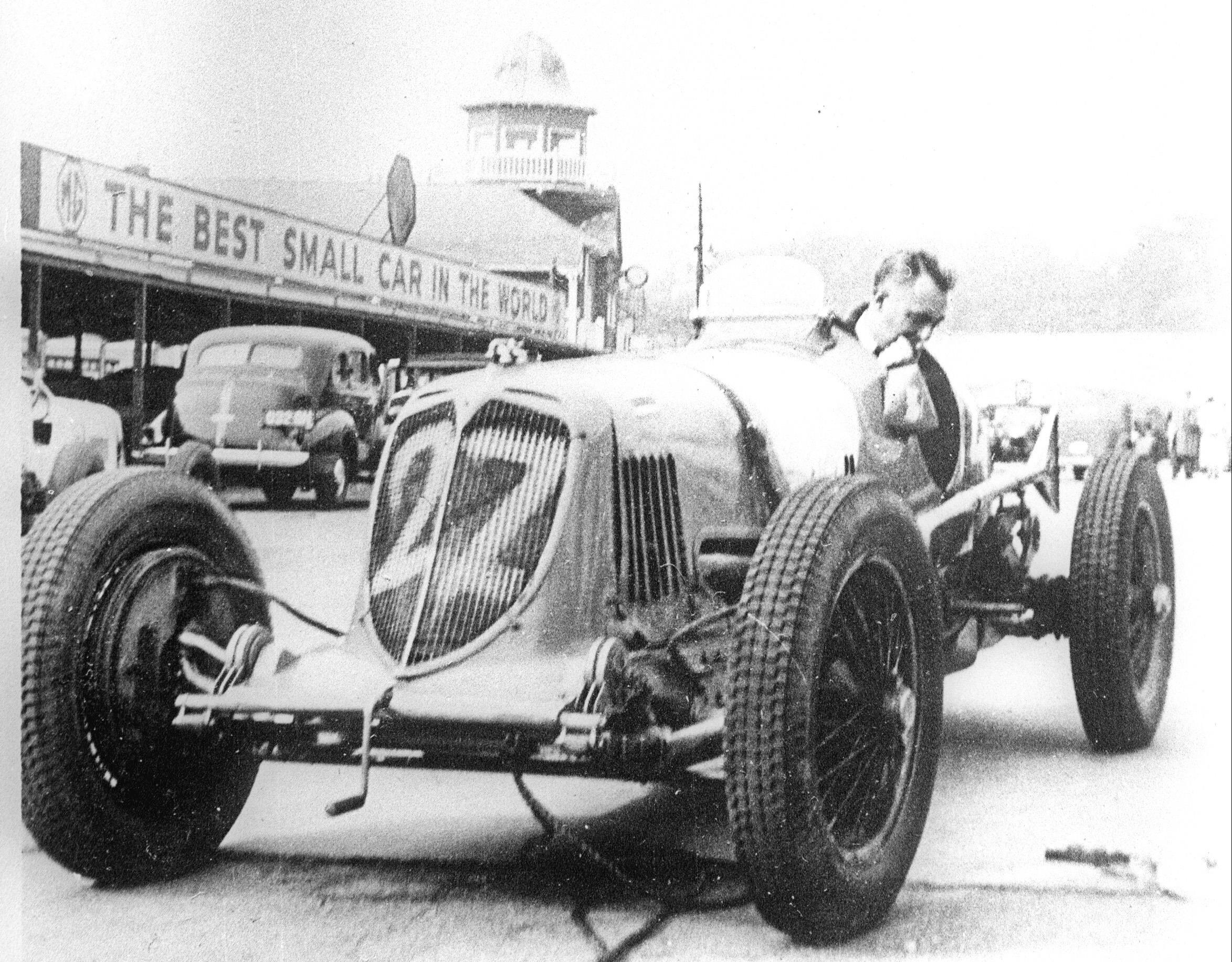 Warming up the 8CM at Brooklands