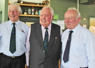 Howden Ganley, left, with well known entrant Sid Taylor and Chris Amon, right during a New Zealand meeting of members of the British Racing Drivers Club. (Photo courtesy Tony Gallagher)