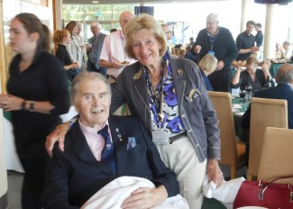 Tim Parnell with his wife Liz in the bustling atmosphere of the British Racing Drivers Clubhouse at Silverstone last weekend