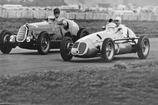 When British driver Denis Poore got in his way with his Alfa Romeo Nino Farina, in his Maserati 4CLT48, waved his fist as he came past