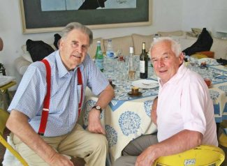 Tim Parnell, left with Jean-Pierre Beltoise at a Club luncheon at St Paul de Vence