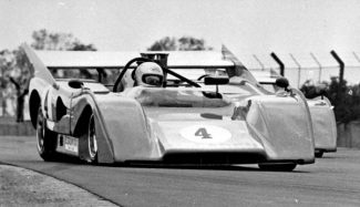 One of John's last races, more than ten years after he had officially retired from racing, in an 8.1 liter  Can-Am McLaren-Chevrolet M8F.