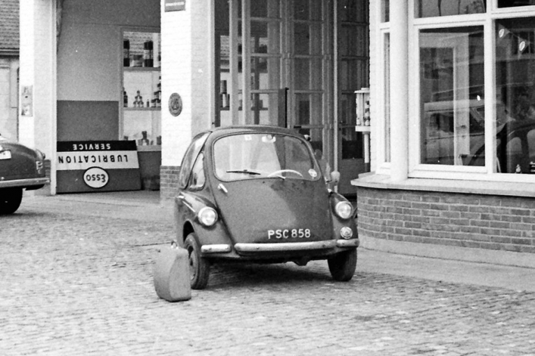 The Heinkel outside a garage in Ostend. Note the typewriter