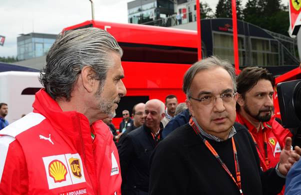 Sergio Marchionne, right, with Ferrari Team manager Maurizio Arrivabene (Grand Prix Photo Peter Nygaard)