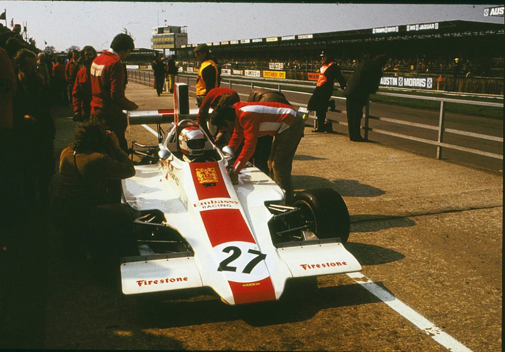 Guy Edwards in Graham Hill's Embassy Hill grand prix car at Silverstone in 1974
