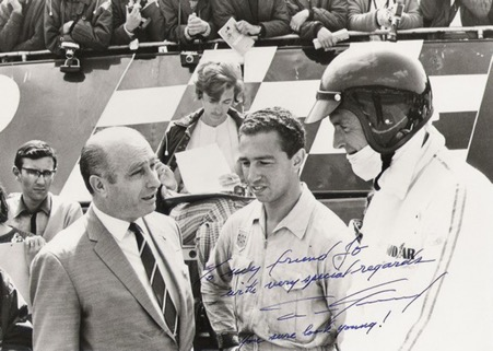A youthful Jo Ramirez with his two early heroes, Juan Manuel Fangio and Dan Gurney, both former members of the Grand Prix Drivers Club. ( Ramirez Archives)