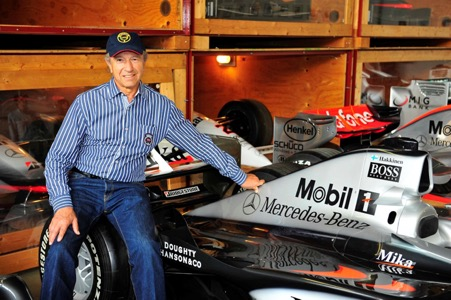 Jo Ramirez surrounded by McLaren's at the Mercedes Benz museum archives. (Photo Peter Meierhofer)