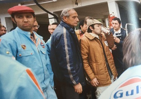 Jo, left, with John Wyer and Pedro Rodriguez and the Gulf Porsche 917 at Le Mans.( Ramirez archives)