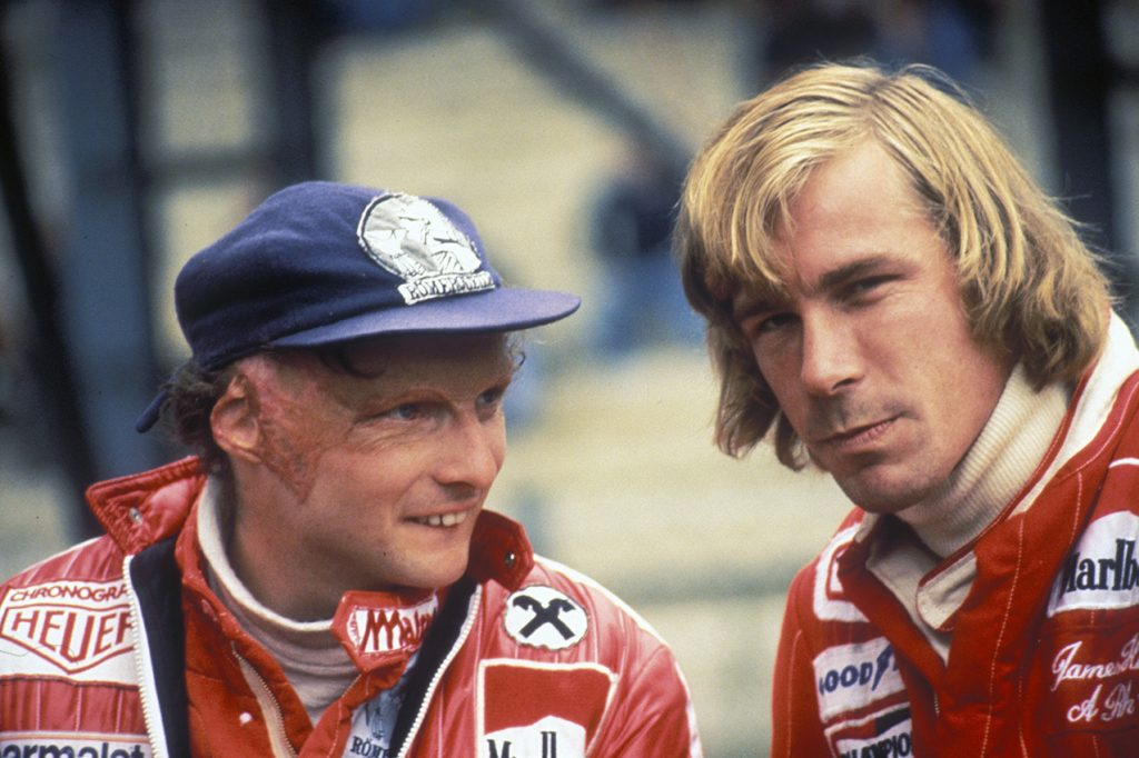 Niki Lauda (Ferrari) and James Hunt (McLaren-Ford) in the pits during the 1976 season. Photo: Grand Prix Photo