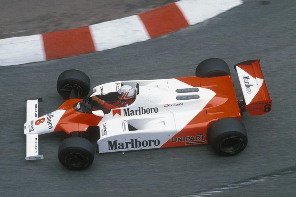 Niki Lauda seen from above in the 1982 Monaco Grand Prix. Photo: Grand Prix Photo