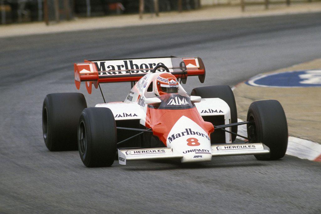 Niki Lauda (McLaren TAG/Porsche) in the 1984 South African Grand Prix at Kyalami. Photo: Grand Prix Photo