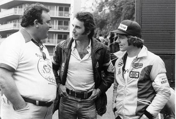 """""""Big D"""", Derek McMahon, left with a youthful John Watson and long-haired Derek Daly. (Daly archives)"""