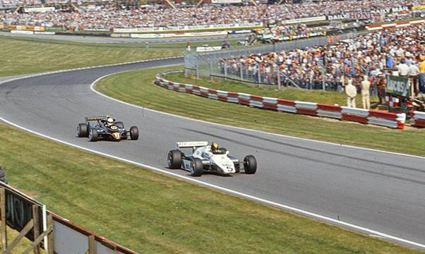 A reminder of Derek Daly when he raced in Grand Prix Formula 1. Seen here driving the Candy Tyrrell 010  at Brands Hatch in 1980 running ahead of Mario Andretti's  Team Essex Lotus 81. (Graham Gauld)