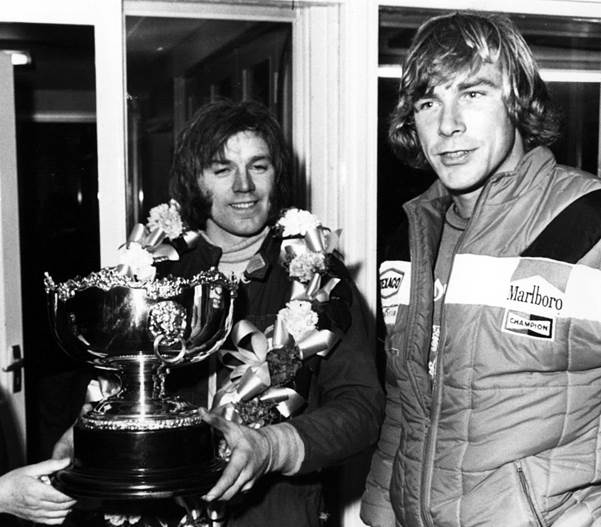 Happy after winning the Formula Ford Festival at Brands Hatch with his Hawke. Two years later he was racing alongside James Hunt in Formula 1. ( Daly Archive)