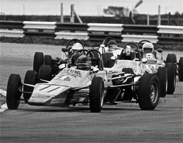 In his successful 1976 season with the factory Hawke Formula Ford Daly was already showing his press-on style. ( Daly archive).