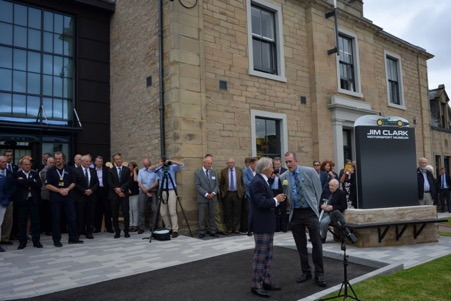 Sir Jackie Stewart at the opening of the Jim Clark Museum in Duns. ( Photo by Peter Nygaard Grand Prix Photo)