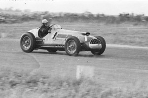 Reg Parnell in action with the Ferrari Thinwall Special at the Winfield circuit in October 1951