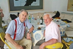 Tim Parnell, left, with the late Jean Pierre Beltoise at one of the Club lunches hosted by Adrian Maeght at his villa in St Paul de Vence.