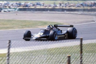 Hector Rebaque in action with his privately entered Lotus 70 at the 1979 British Grand Prix at Silverstone