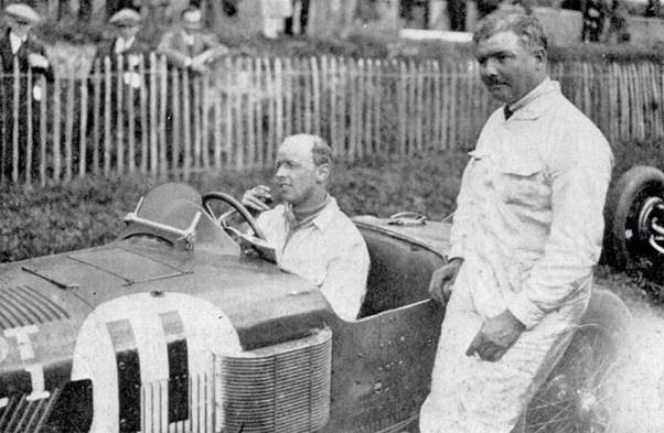 Albert Divo, right with Sir Henry Seagrave and the Sunbeam they raced