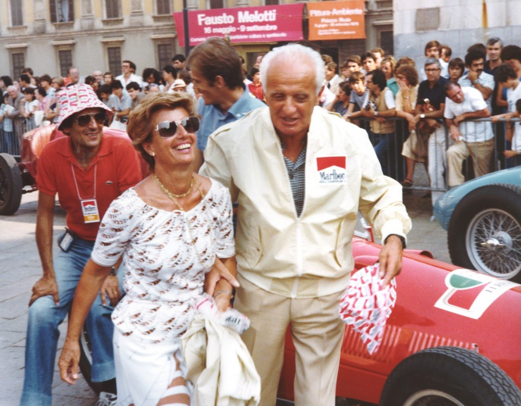 After her retirement Maria-Teresa devoted herself to the Grand Prix Drivers Club and is seen here in typical form with her former Maserati compatriot Luigi Villoresi.