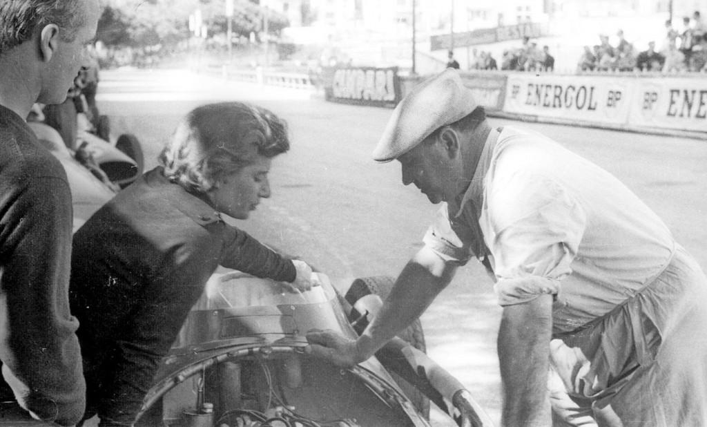 Monaco 1958, Maria-Teresa with her mentor Guerino Bertocci of Maserati