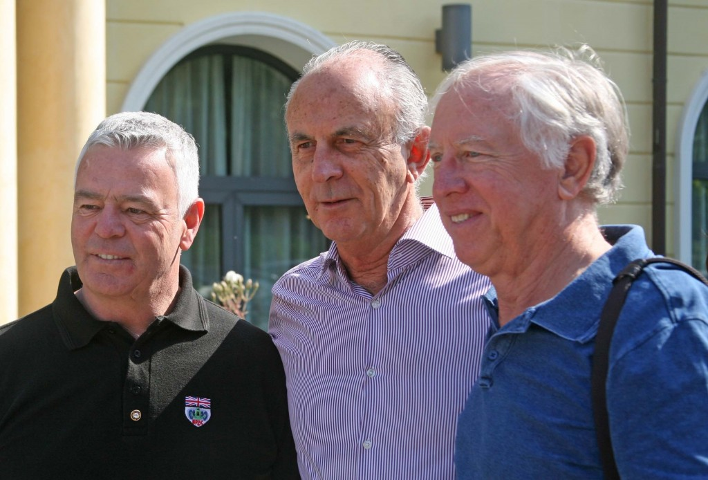 Tim, centre, back in Maranello at the Grand Prix Drivers Club annual meeting with Derek Warwick and Vern Schuppan.