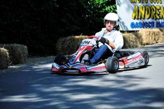 Jo Ramirez in action in motor-less kart.