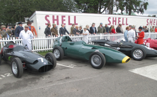 A group of the great front-engined Grand Prix cars of the 2 ½ litre formula. Left to right BRM P25, Vanwall, Connaught and Maserati 250F