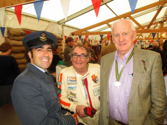 Dario Franchitti decked out in his RAF uniform with Rupert Keegan and sports car racer John Fitzpatrick
