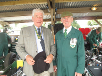Windblown Club President Howden Ganley with legendary Team Lotus mechanic Bob Dance.