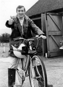 Jackie Stewart about to cycle from to Brands Hatch at the British Grand Prix meeting 1964