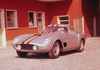 Ferrari test driver  leaving the factory to test Olivier Gendebien's brand new Ferrari 250GT with which he won the Tour de France ten days later