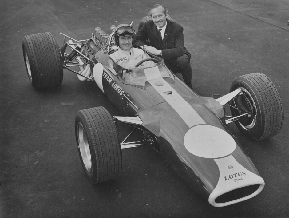 Graham Hill, Colin Chapman, the Lotus 49 and the flat Firestones