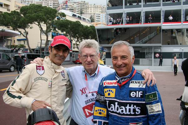 Vice-President Emanuelle Pirro and Graham Gauld with former Monaco GP winner Riccardo Patrese | The Grand Prix Drivers Club