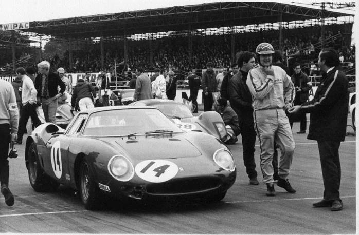 David Skailes on the starting grid at Silverstone having his first race with the Ferrari 250LM