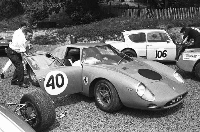 Jack Maurice photographed in 1969 at a hill climb with the Ferrari 250LM using its Drogo nose