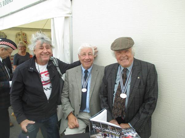 Club President Howden Ganley, centre, met up with Brian Redman, right and fellow New Zealander David Oxton who was a star in Formula 5000 circles down under.