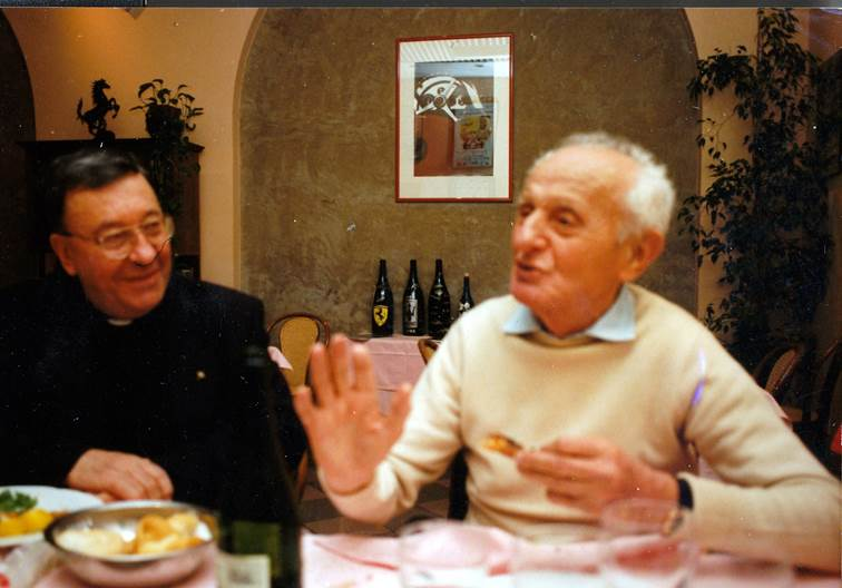 Don Sergio with his close friend Luigi Villoresi at Ristorante Lauro in Modena in 1996 <em>(Photo Gauld)</em>