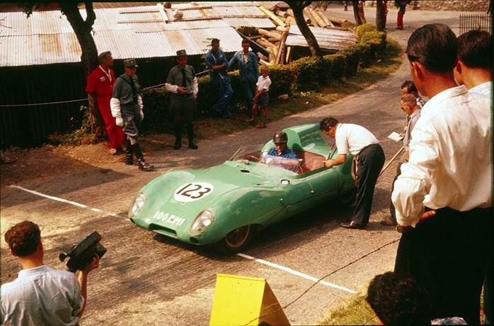 Innes on the starting line at Ollon with the Lotus 11