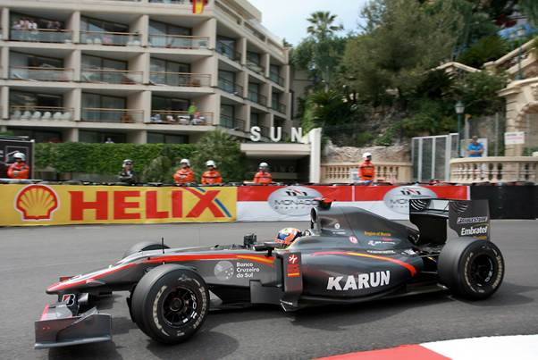 Karun at the wheel of the Hispania Cosworth V8 in 2010 (Grand Prix Photo- Peter Nygaard)