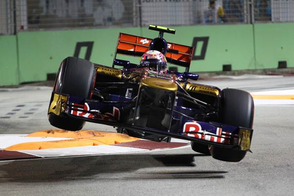 This stunning shot of Jamie Alguersuari in his Toro Rosso at the Singapore Grand Prix would have been impossible fifty years ago. Particularly as this photo was taken at night under floodlights. (Photo Peter Nygaard : Grand Prix Photo)