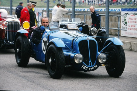 Jean Sage at Silverstone with his Delahaye.